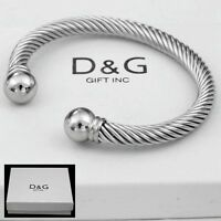 """DG Men's Silver Stainless-Steel 7"""" Adjustable Round Cuff Cable.Bracelet*Box"""