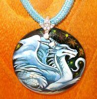 Colgante Dragón Fantasía Blanco Genuino Azul con Cuentas Collar Negro Piedra
