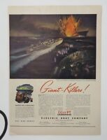 Original Print Ad 1943 ELECTRIC BOAT COMPANY Giant-Killers Vintage Artwork WWII