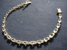Blue Topaz Chunky Tennis Bracelet Grandmas Estate 925 Sterling Silver