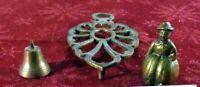 Lot 3 Vintage Brass Trivet Glo Mar Art Works Footed Hot Plate 2 Brass Bells