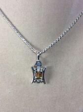 "Vintage 925 Fine Sterling Silver/ Citrine Gemstone Pendant/ 18"" Chain Necklace"