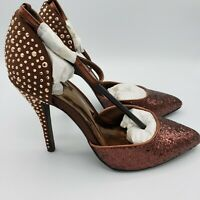 Carlos Santana Gaia Bronze Glitter Studs Embellish Pumps Heels Women's Sz 8 NWT