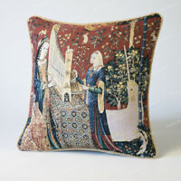 """Jacquard Weave Tapestry Pillow Cushion Cover Lady & Unicorn - Hearing 18""""x18"""" US"""