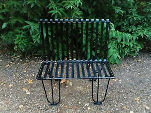 Quality Hand Forged Heavy Gauge 2 Seater Wrought Iron Garden Bench / Love Seat
