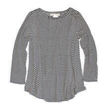 Ann Taylor LOFT - Womens L - Navy Blue & White Panel Striped Rayon Knit Top Tee