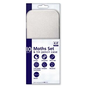 10 Piece Maths Geometry Set & Tinned Pencil Case Back to School Children's Kids
