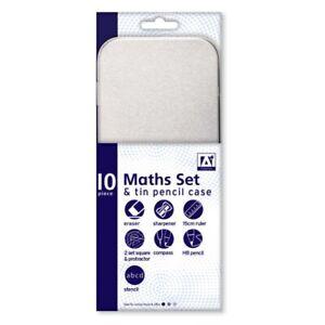 10 Piece Maths Geometry Set & Tinned Pencil Case Back to School Children's Kids