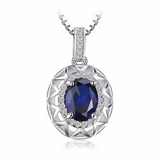 22mm Fashion 1.5 ct Blue Sapphire Necklace Pendant Solid Sterling Silver Special