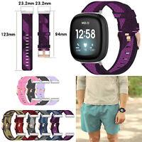 Canvas Nylon Armband Uhrenarmband Strap für Fitbit Versa 3 & Fitbit Sense Watch