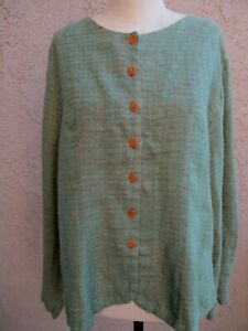 FLAX JACKET / TOP ~ M / L ~ LINEN FABRIC ~ SUMMER COLOR / STYLE!!!!!