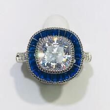 Platinum Sterling Silver Blue & White Sapphire Pave Cushion Cut Halo Ring Sz7