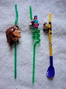 Kids Fun Swirl Straw Lot Barney Purple Dinosaur Tarzan Tazmanian Devil Taz Lot