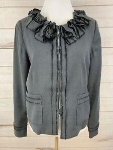 REBECCA TAYLOR Ruffled Neck Gray Jacket Blazer Raw edges Size 10