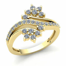 Right Hand Bypass Ring 10K Gold Genuine 1.5ct Round Cut Diamond Ladies Flower