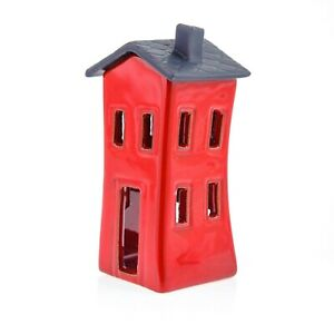 Modern Ceramic Tea-light Candle Lantern, House Design, Red Color, Small  size