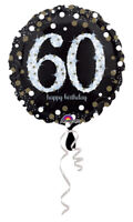 """60th Birthday Decorations Party Supplies 60 yrs old Mylar 18"""" Balloon Sparkling"""
