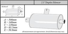 """Jetex universel échappement Duplex arrière Silencieux Box 2.5"""" en acier inoxydable"""