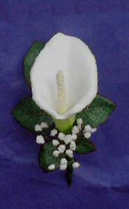 Calla Lily Boutonniere Artificial Fake Flowers Prom Real Touch Groom White Faux
