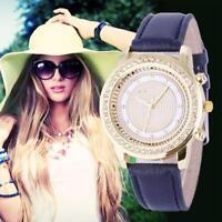Luxury Women's Fashion Diamond Leather Analog Stainless Steel Quartz Wrist Watch