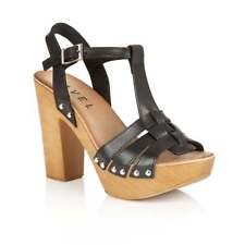 Ravel Berwick Designer Summer Dress Platform Heeled Sandals Black Leather UK 6