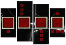 Large Red and Black Abstract Squares Canvas Picture Split Multi 4 panel 100cm