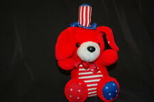 "Red Puppy Dog Stars Stripes Blue White Hat Bow USA Pride Plush 10"" Int'l Toys"