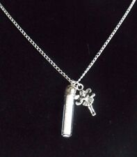3D Tinkerbell Fairy Charm with Pixie Dust filled Glass Bottle Pendant Necklace