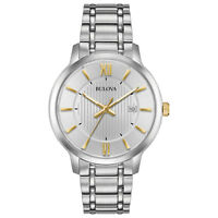 Bulova Men's Classic Quartz Silver-Tone Dial Gold Tone Accents 40mm Watch 98B306