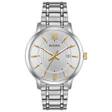 Bulova Men's Classic Quartz Silver-Tone Dial Gold Tone Accents 40mm Watch 98B306