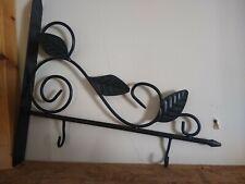 Side Mounted Wall Metal Black 3 Leaf Design 2 Hook Photo Hanger or Key Holder