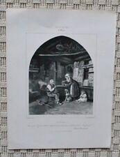 Lithographie XIX ème - Le Goûter - Challamel - Charles Fortin