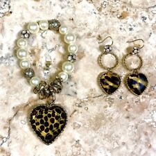 Betsey Johnson Leopard Heart Bracelet Earring Set