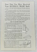 VTG 1953 KOREAN WAR ERA RANDALL KNIFE BROCHURE SHARPENING AND CARE GUIDE BOOK