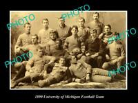 OLD POSTCARD SIZE PHOTO OF THE UNIVERSITY OF MICHIGAN FOOTBALL TEAM c1890