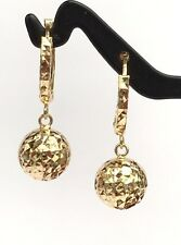 18k Solid Yellow Gold Cute Ball Dangle Hoop Earrings, Diamond Cut 1.80 grams