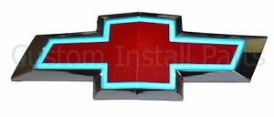 Illuminated Glow Blue Light Up LED Grille Red Bowtie Textured Emblem Fits Camaro