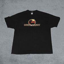 Vintage Mortal Kombat Video Game Shirt 90s Liquid Blue Promo Movie Black Shirt