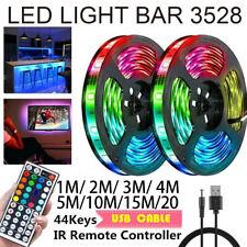LED Streifen 1-20M Lichterkette Partylicht Beleuchtung RGB LED Stripe Band Strip