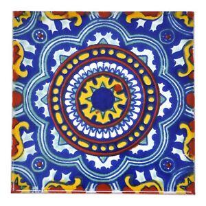 Katia - Handmade Mexican Ceramic Talavera Large 10.5cm Tile Ethically Sourced