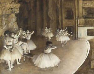 Edgar Degas Ballet Rehearsal On Stage Giclee Art Paper Print Poster Reproduction