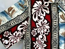 Vtg.Rjc.Barkcloth.Floral & Sailboats.Hawaiian.Shirt. Usa.sz Medium