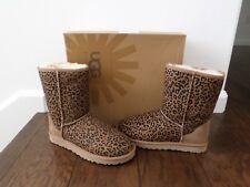 New UGG Australia Classic Short Women's Rosette Leopard Boots Chestnut Size 7