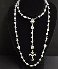 18K Solid White gold Rosary Necklace Filigree Bead Crucifix cross 28.00 grams