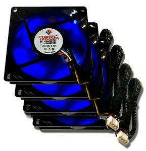 4 pcs Power Cooler by Evercool 80mm x 80mm x 25mm 4 Pin Blue Led PWM Fans 4 PACK
