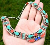Nepal Tibetan Bib Necklace Green Turquoise Nepalese Ethnic Coral Jewelry Boho