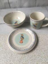 "Wedgwood - Peter Rabbit ""For Your Christening"" Bowl Mug Plate 3 pc. Set England"