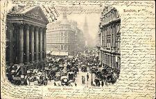 London 1902 Auto Pferde Fuhrwerke Verkehr Traffic Mansion House Vintage Postcard