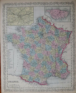 19th C MAP of FRANCE - Hand Colored - 1856