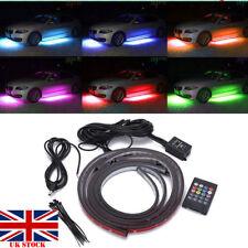 4X RGB LED Under Car Tube Strip Underbody Glow Neon Light Kit Wireless Control#